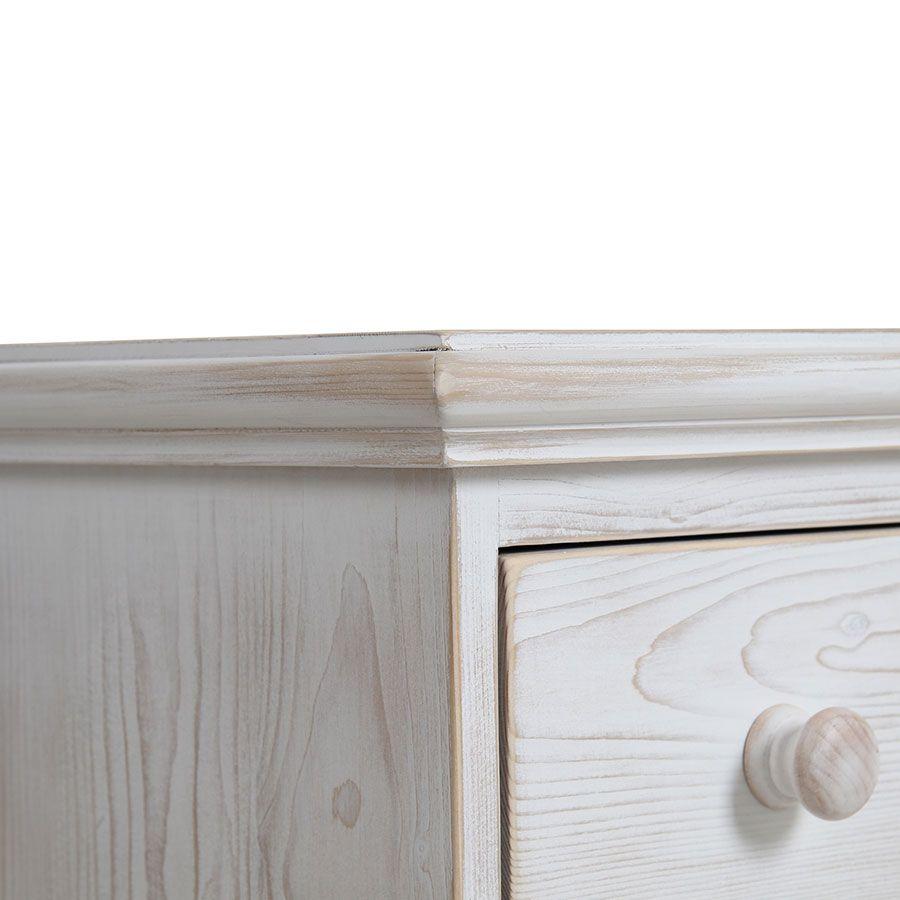 Commode 6 tiroirs en épicéa nuage de blanc - Natural