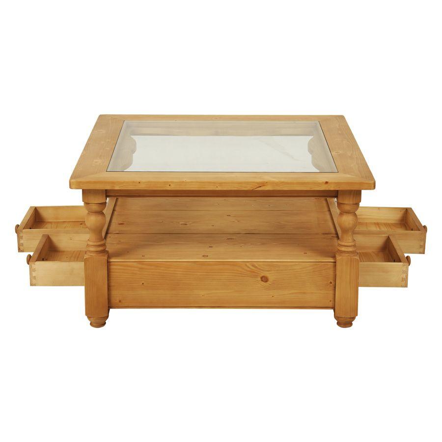 Table basse carrée en épicéa avec rangement - Natural