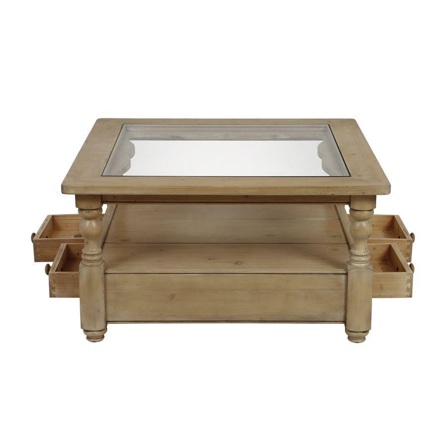 Table basse carrée en épicéa massif - Natural