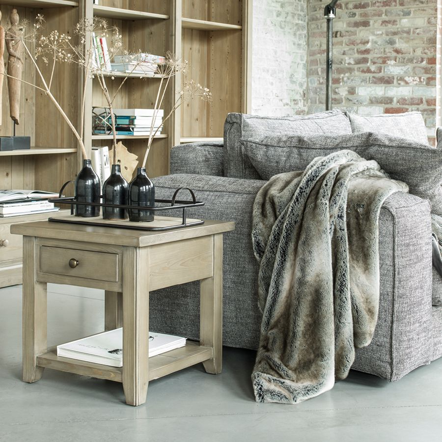 Bout de canapé contemporain en épicéa naturel cendré - First