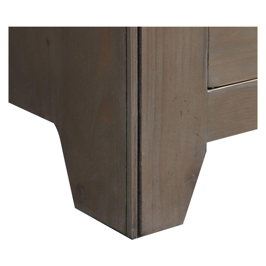 Armoire penderie 2 portes 2 tiroirs en épicéa brun fumé grisé - First