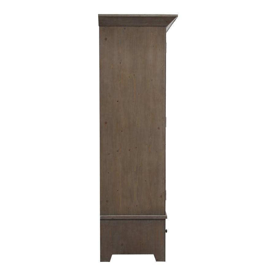 Armoire 2 portes 2 tiroirs en épicéa brun fumé grisé - First