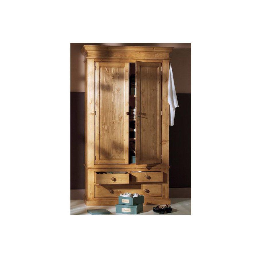 Armoire penderie 2 portes 3 tiroirs en épicéa naturel ciré - Natural