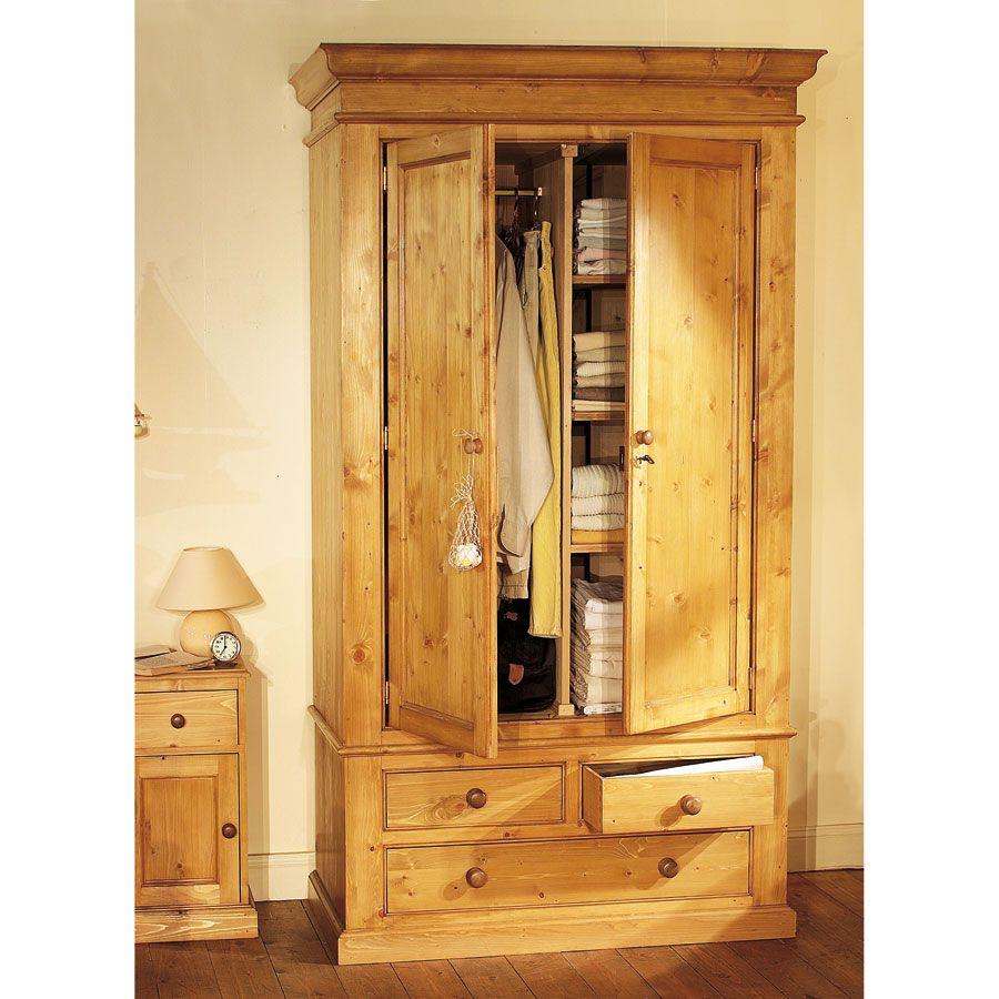 Armoire 2 portes 3 tiroirs en épicéa naturel ciré - Natural