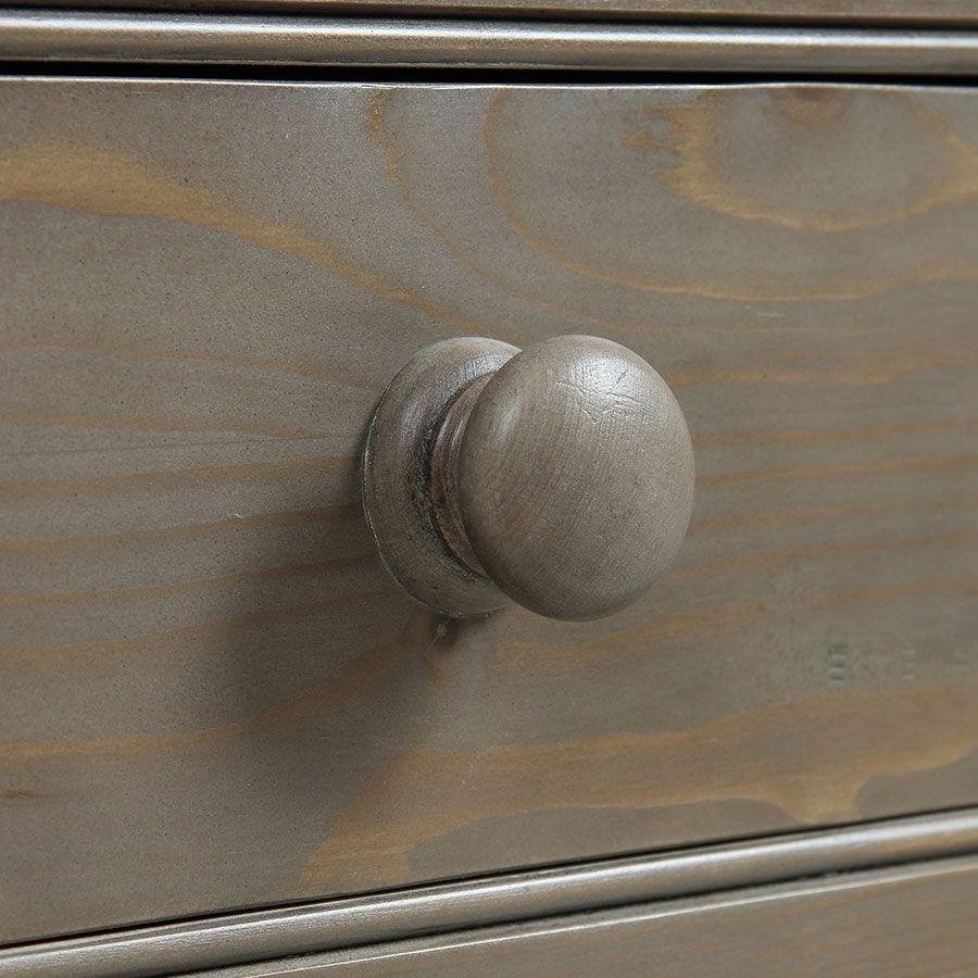Armoire penderie 2 portes 3 tiroirs en épicéa naturel fumé -Natural