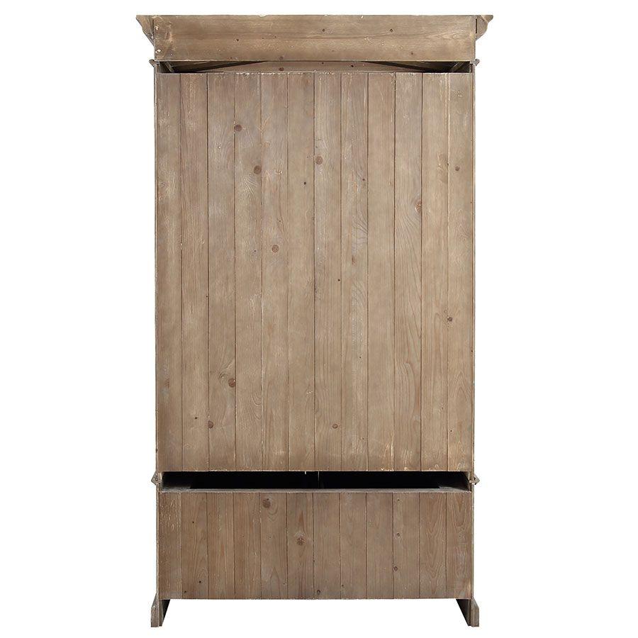Armoire 2 portes 3 tiroirs en épicéa naturel fumé -Natural
