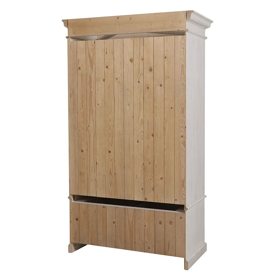 Armoire penderie 2 portes 3 tiroirs en épicéa nuage de blanc - Natural
