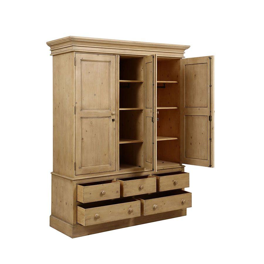 Armoire penderie 3 portes 5 tiroirs en épicéa naturel cendré - Natural