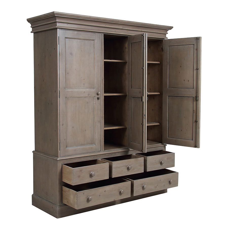 Armoire penderie 3 portes 5 tiroirs en épicéa brun fumé grisé - Natural