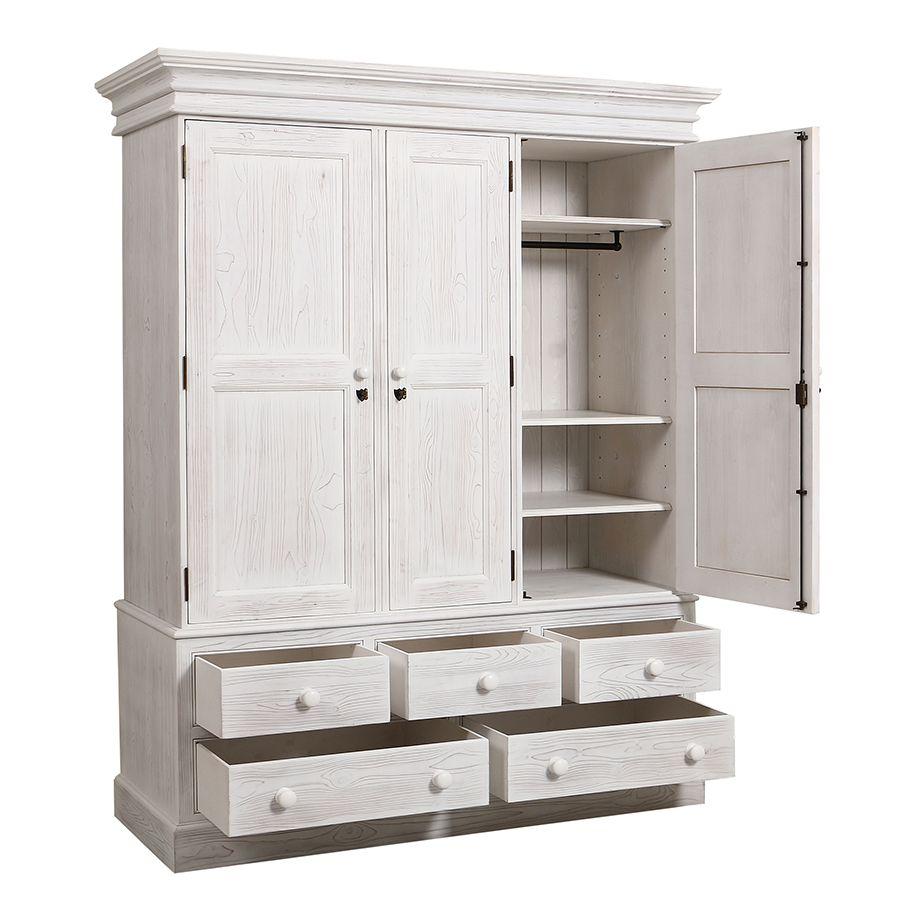 Armoire 3 portes 5 tiroirs en épicéa massif nuage de blanc - Natural