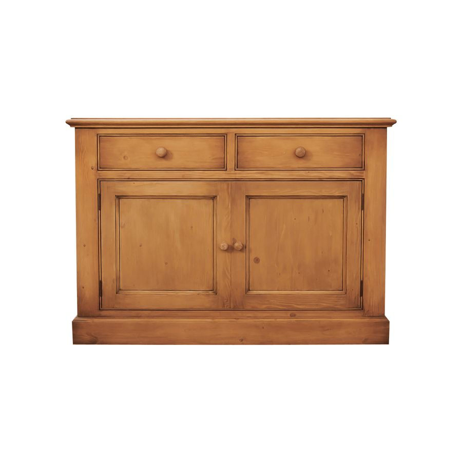 Buffet bas en épicéa 2 tiroirs 2 portes - Natural
