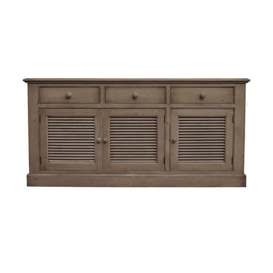 Buffet bas 3 tiroirs portes persiennes en épicéa brun fumé grisé - Natural