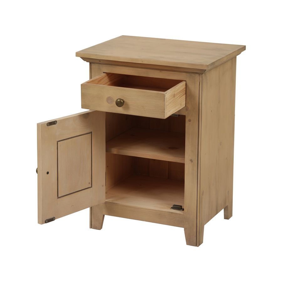 Table de chevet 1 tiroir en épicéa massif - First