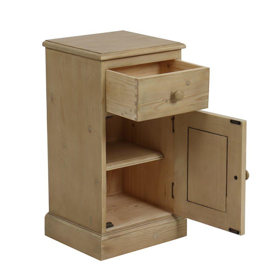 Table de chevet 1 porte 1 tiroir en épicéa naturel cendré - Natural