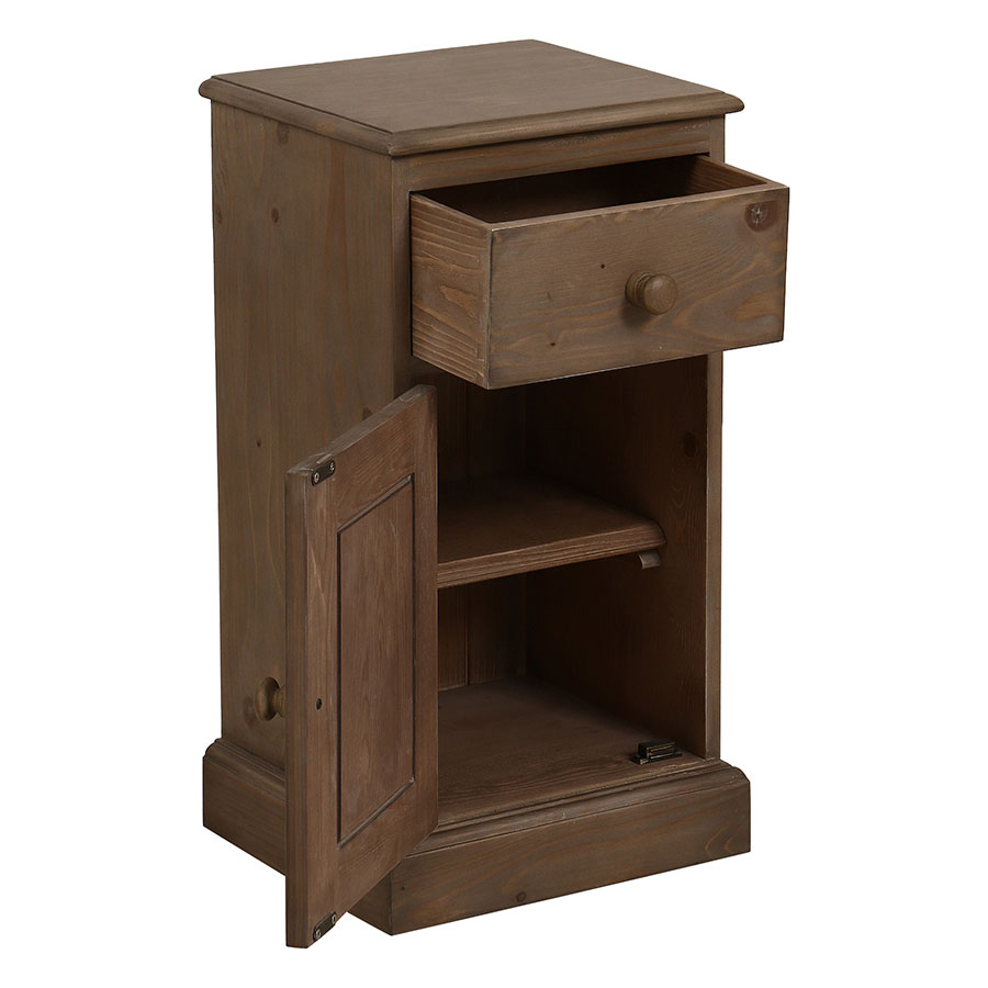 Table de chevet 1 porte 1 tiroir en épicéa brun fumé grisé - Natural