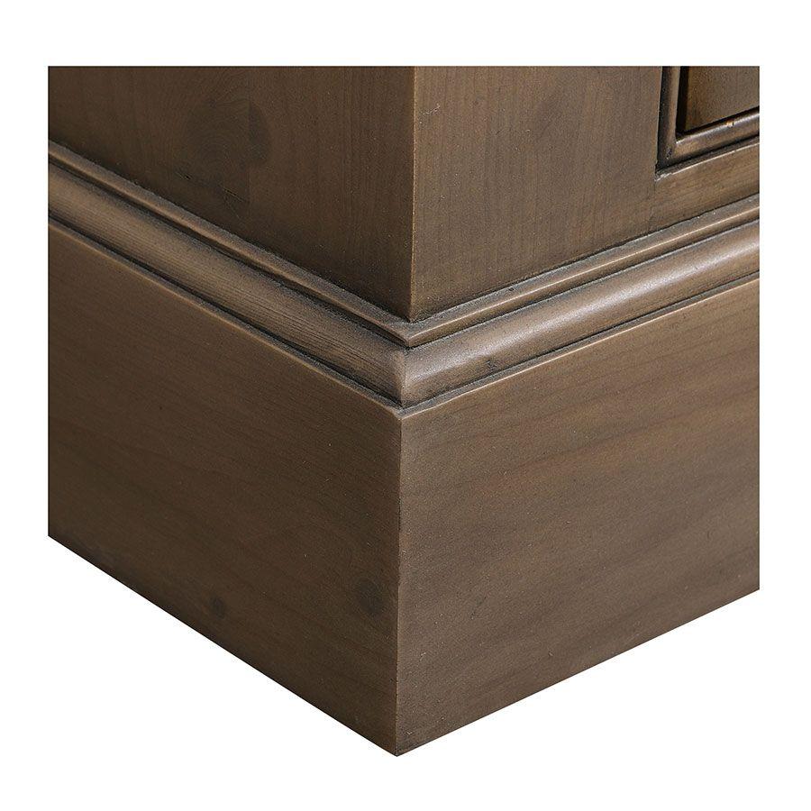 Buffet vaisselier 2 portes vitrées en épicéa brun fumé grisé - Natural