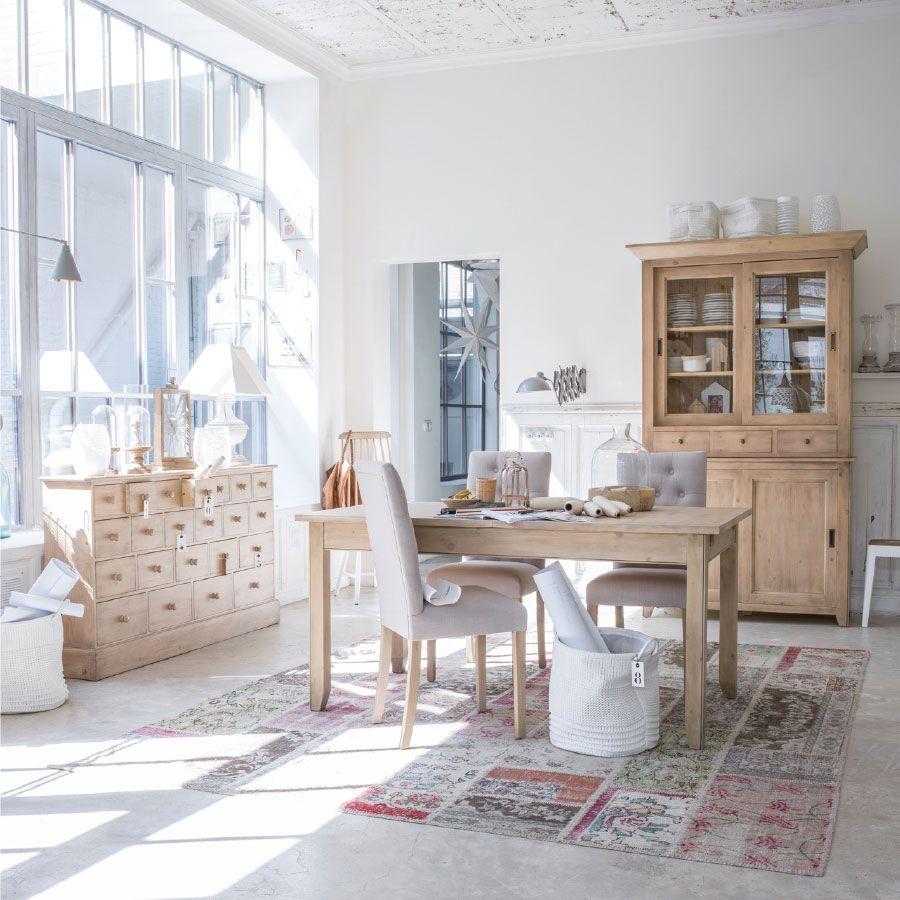 Buffet vaisselier 2 portes vitrées en épicéa naturel cendré - First