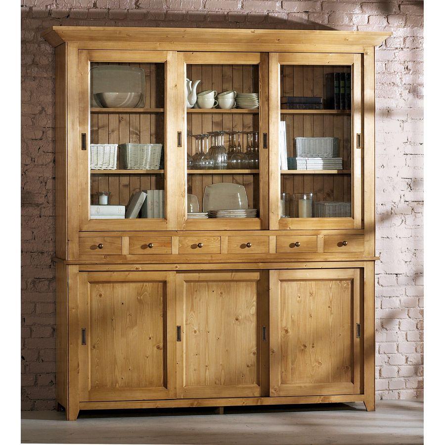 Buffet vaisselier 3 portes vitrées en épicéa naturel ciré - First