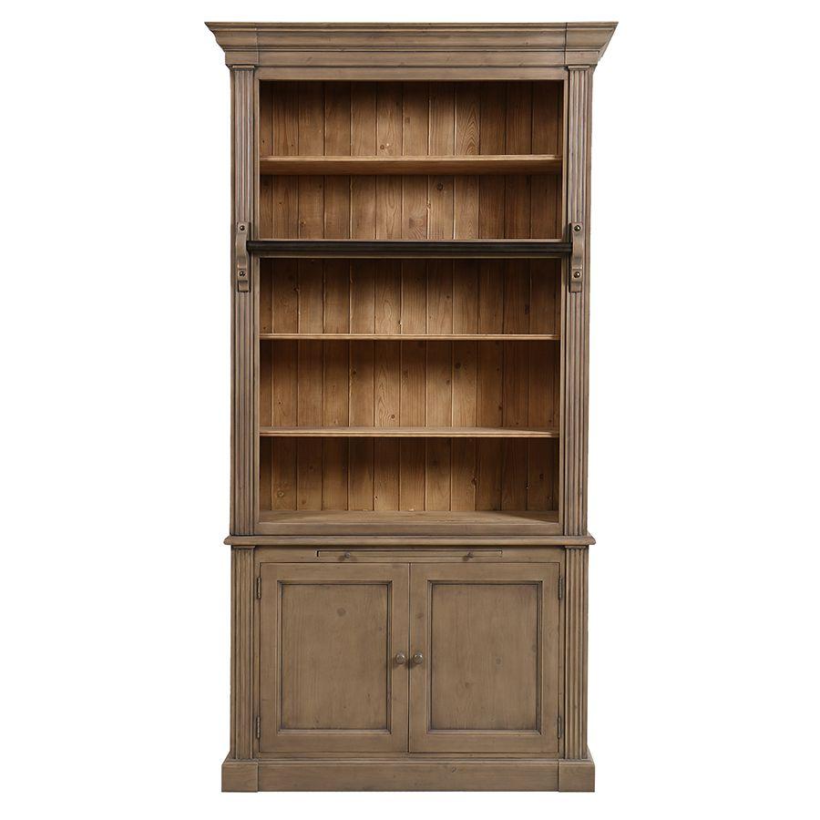 Bibliothèque 2 portes en épicéa brun fumé grisé - Natural