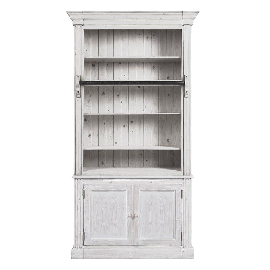 Bibliothèque 2 portes en épicéa massif nuage de blanc - Natural