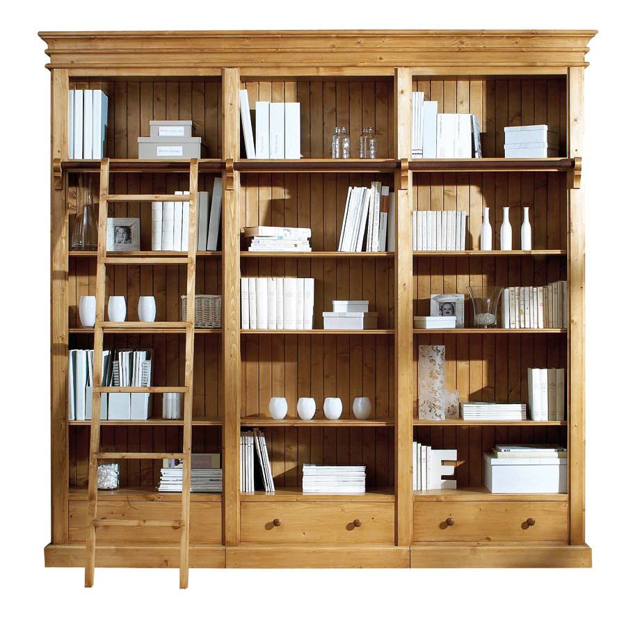 Bibliothèque avec échelle en épicéa naturel ciré - First