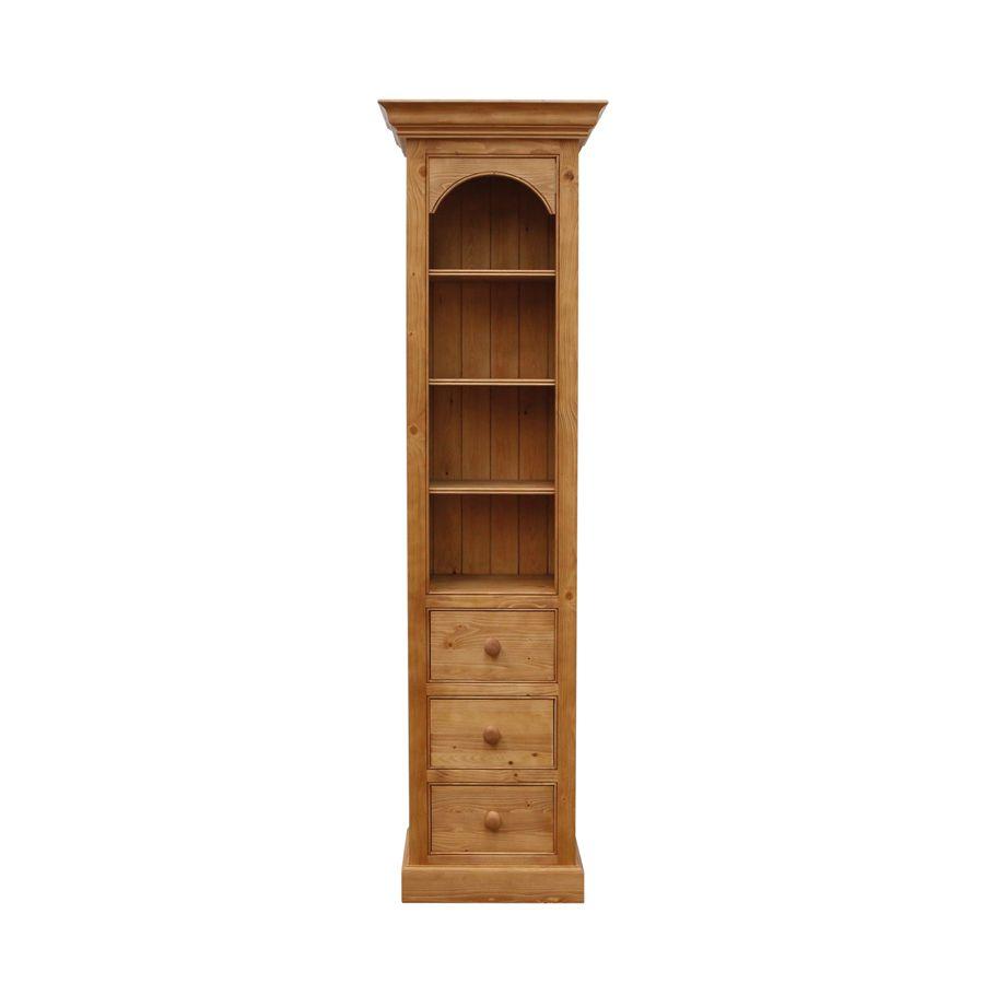 Bibliothèque 3 tiroirs en épicéa naturel ciré - Natural