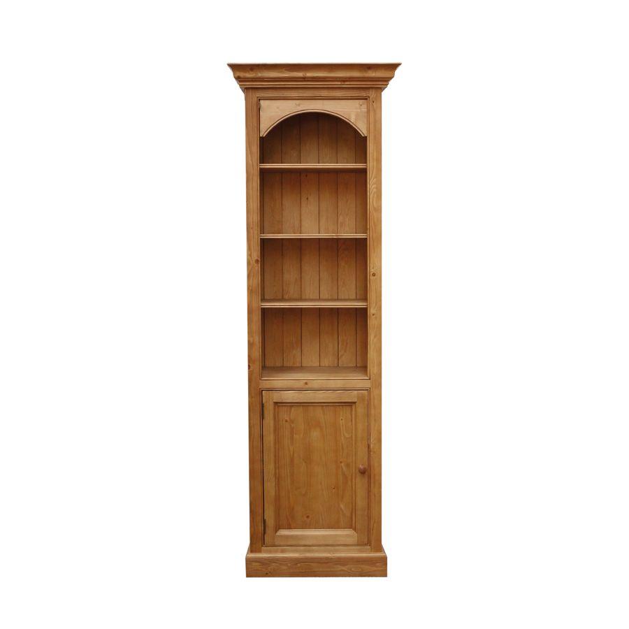 Bibliothèque 1 porte en épicéa naturel ciré L70 cm - Natural