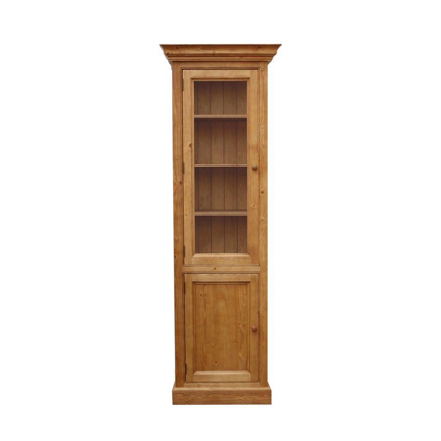 Bibliothèque vitrée 2 portes en épicéa naturel ciré L70 cm - Natural