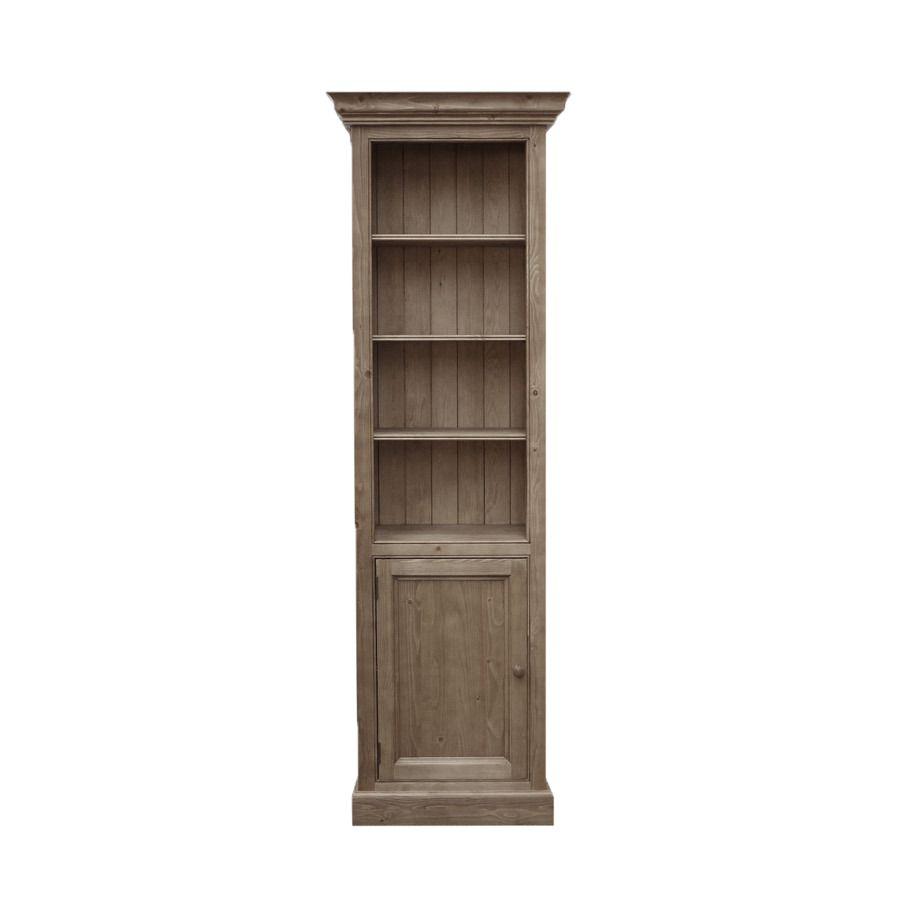 Bibliothèque modulable porte basse pleine en épicéa brun fumé grisé - Natural