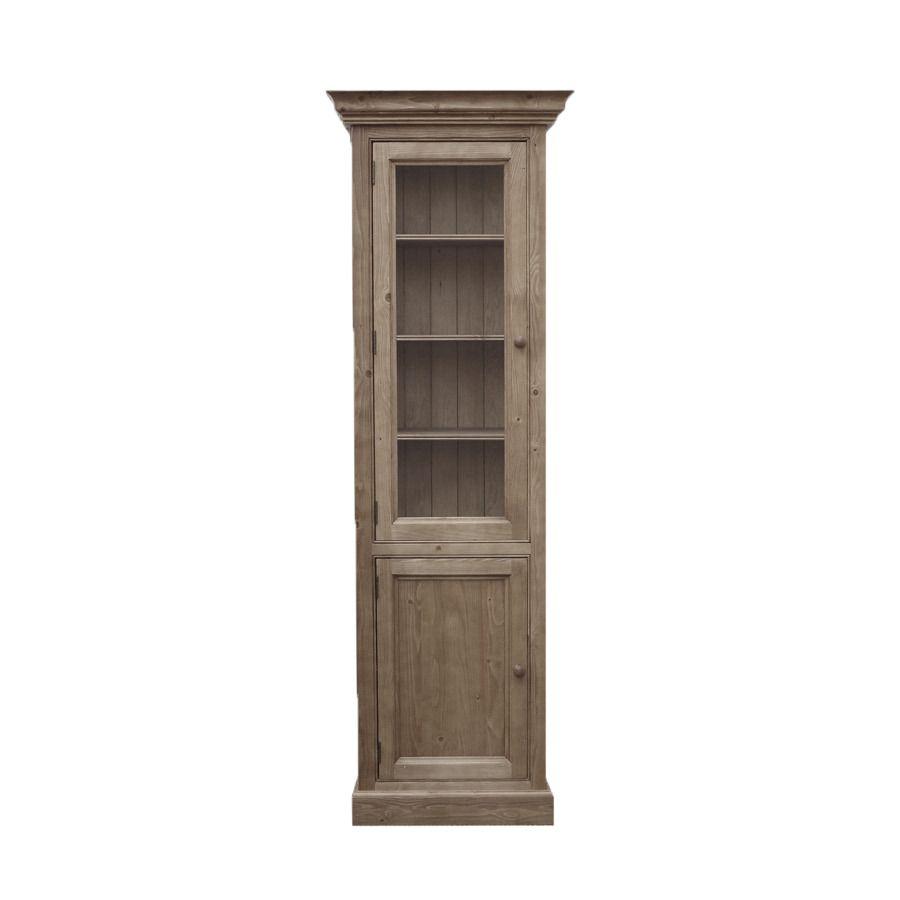 Bibliothèque modulable vitrée en épicéa brun fumé grisé - Natural