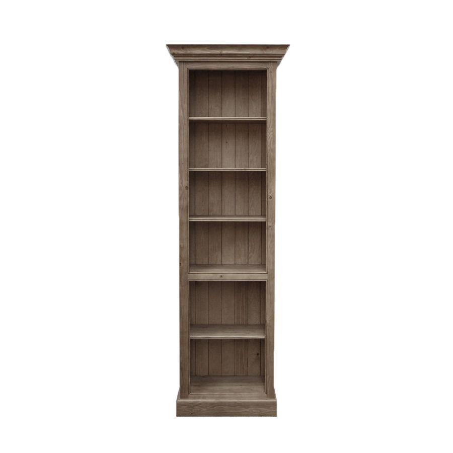 Bibliothèque en épicéa brun fumé grisé - Natural