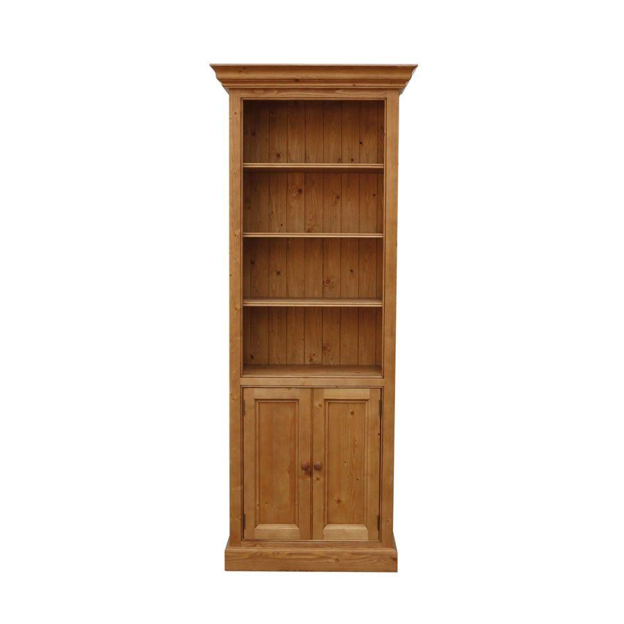 Bibliothèque 2 portes en épicéa naturel ciré L84 cm - Natural