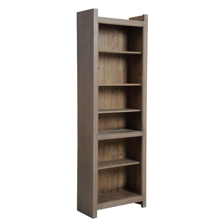 Bibliothèque en épicéa brun fumé grisé L84 cm - Natural