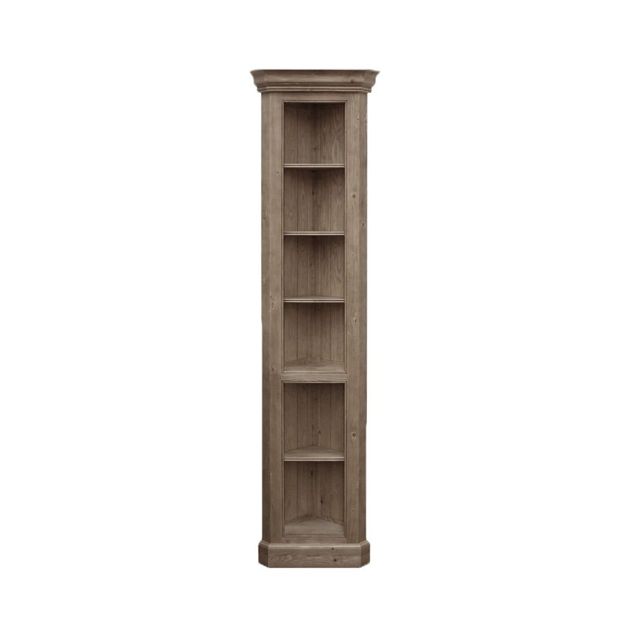 Bibliothèque d'angle en épicéa brun fumé grisé - Natural