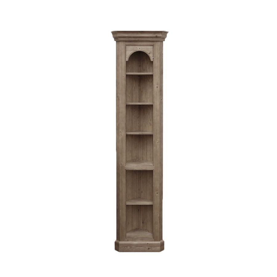 Bibliothèque d'angle en épicéa brun fumé grisé H212 cm - Natural