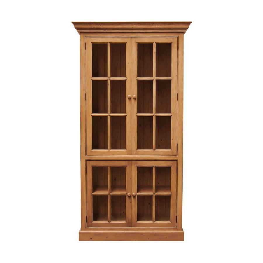 Bibliothèque vitrée portes croisillons en épicéa L114 cm - Natural