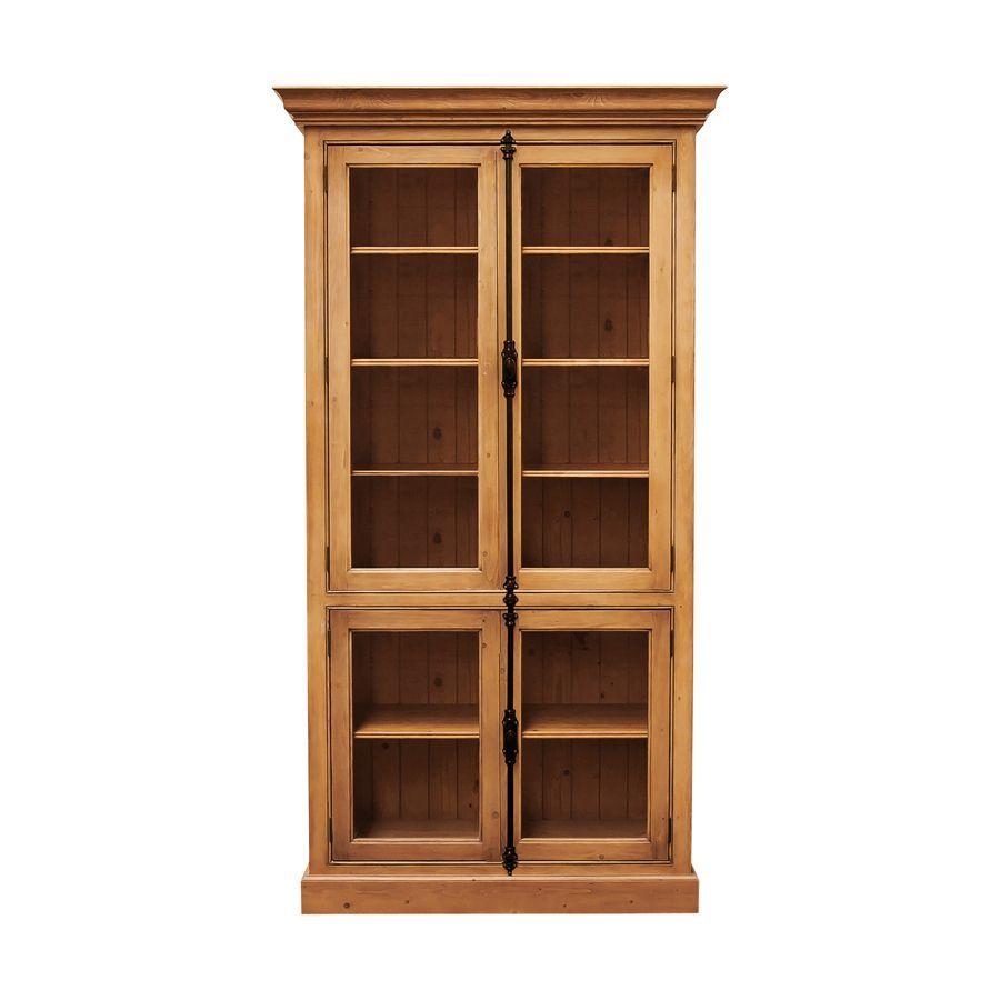 Bibliothèque 4 portes vitrées croisillons en épicéa naturel ciré - Natural