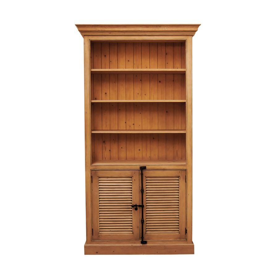 Bibliothèque 2 portes persiennes en épicéa naturel ciré L114 cm - Natural