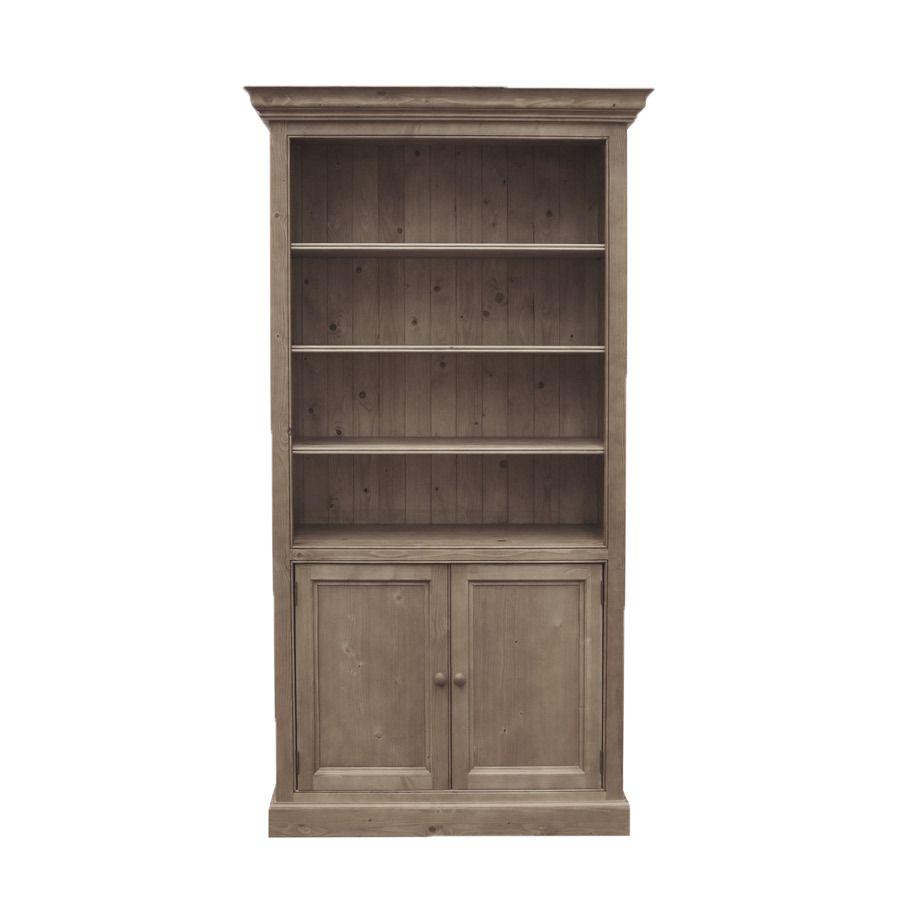Bibliothèque 4 étagères ouvertes en épicéa brun fumé grisé - Natural