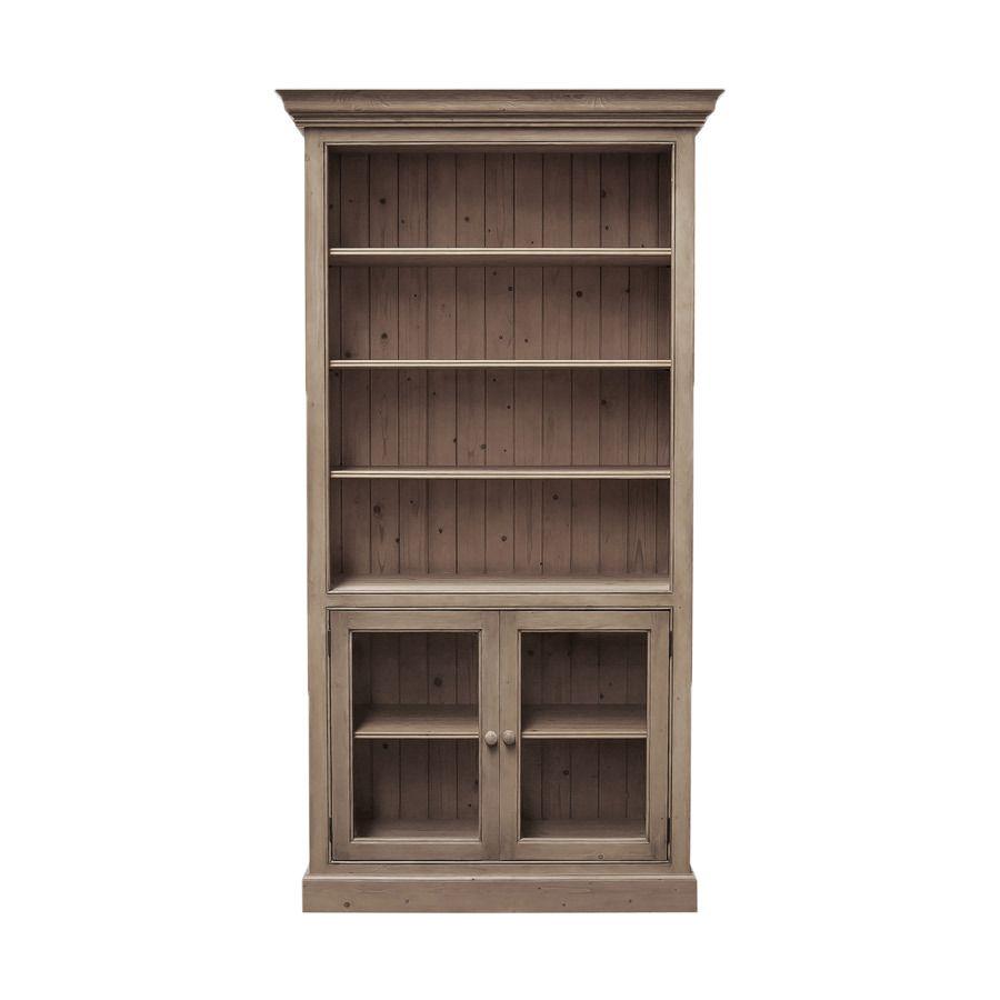Bibliothèque ouverte avec portes basses vitrées en épicéa brun fumé grisé - Natural