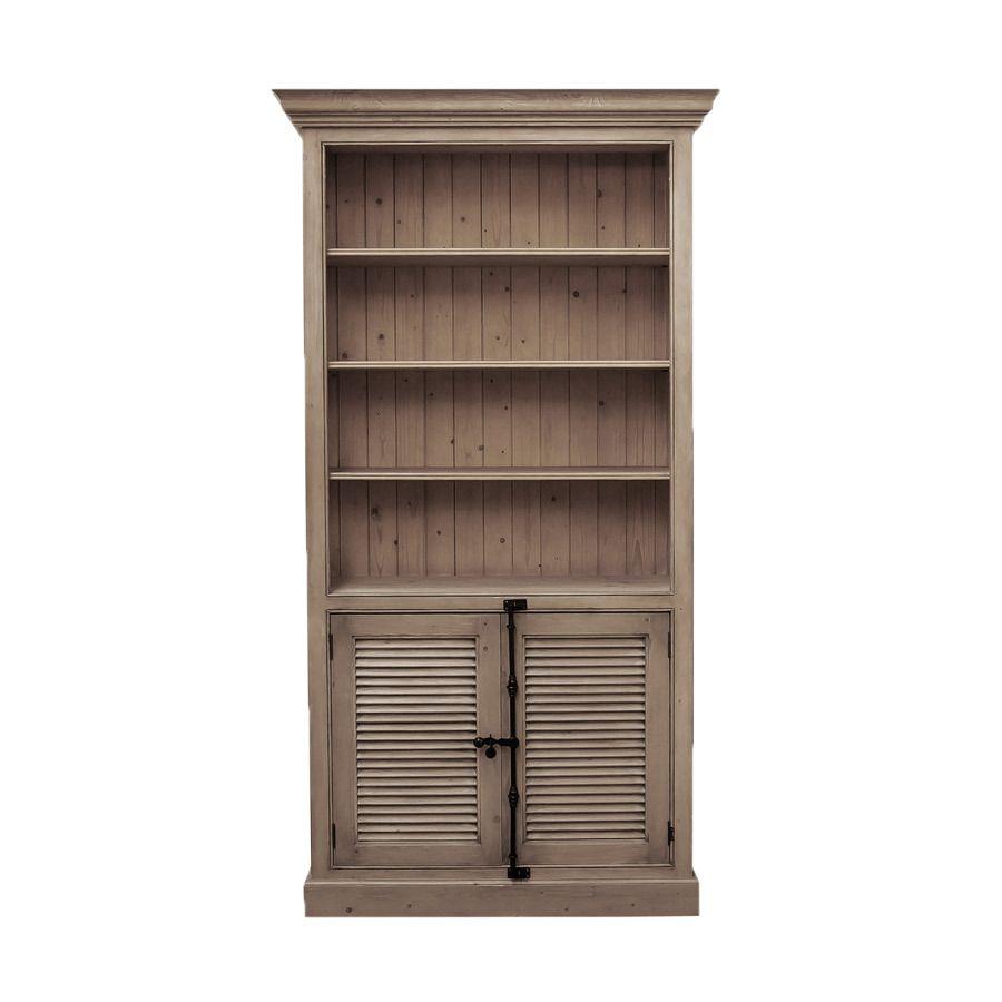 Bibliothèque modulable avec 2 portes basses persiennes enépicéa brun fumé grisé - Natural