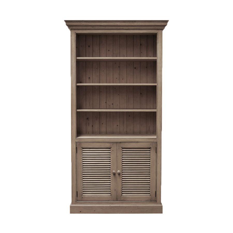 Bibliothèque avec portes basses persiennes en épicéa brun fumé grisé - Natural