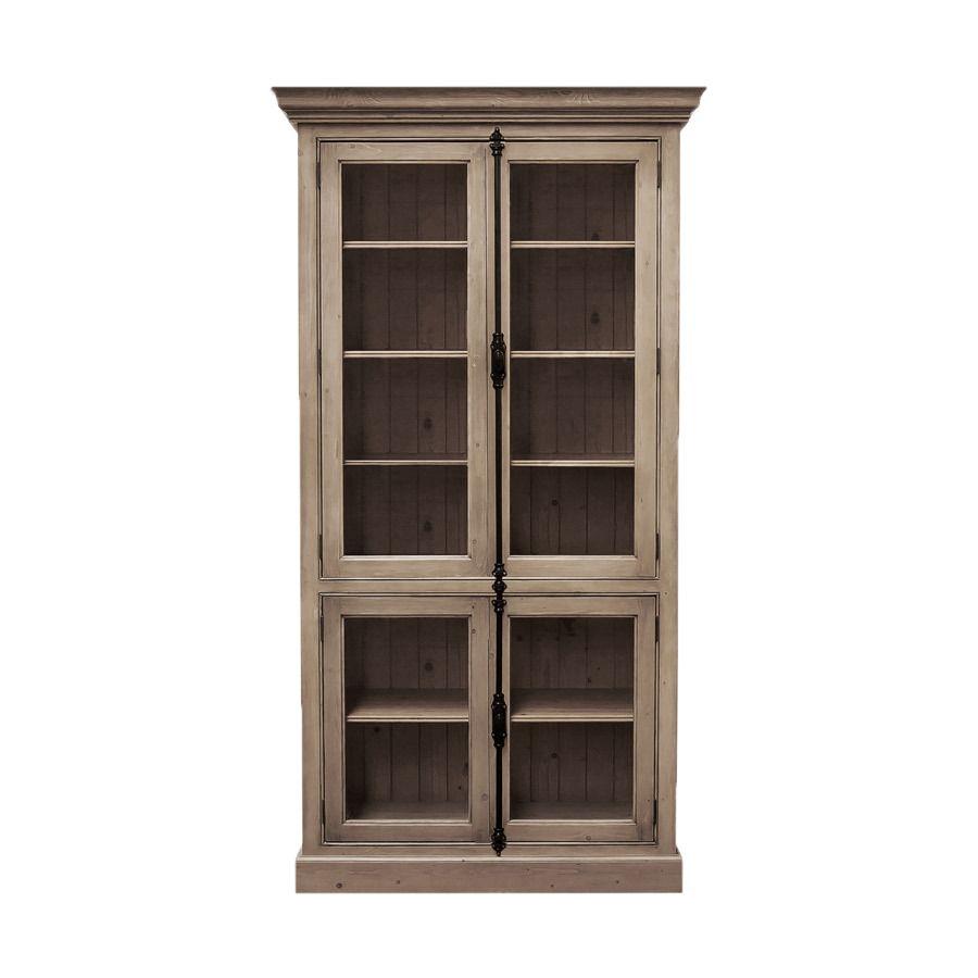 Bibliothèque avec portes vitrées hautes et basses en épicéa brun fumé grisé - Natural