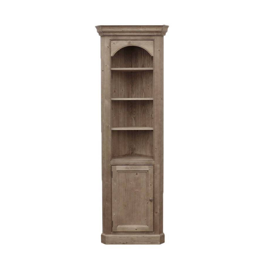 Bibliothèque d'angle ouverte avec panel en épicéa brun fumé grisé - Natural