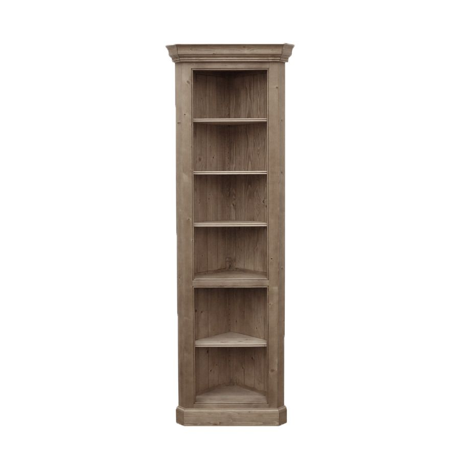 Bibliothèque d'angle ouverte en épicéa massif brun fumé grisé - Natural