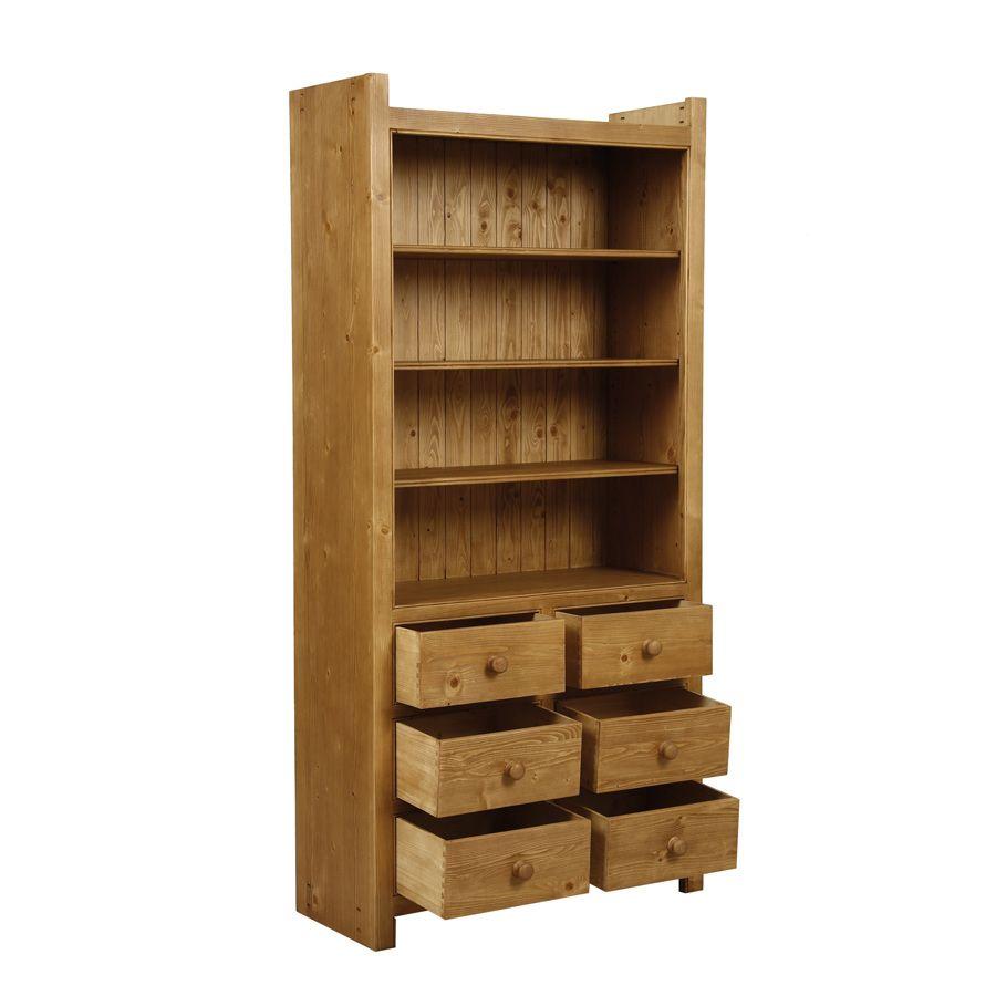 Bibliothèque modulable 6 tiroirs en épicéa - Natural