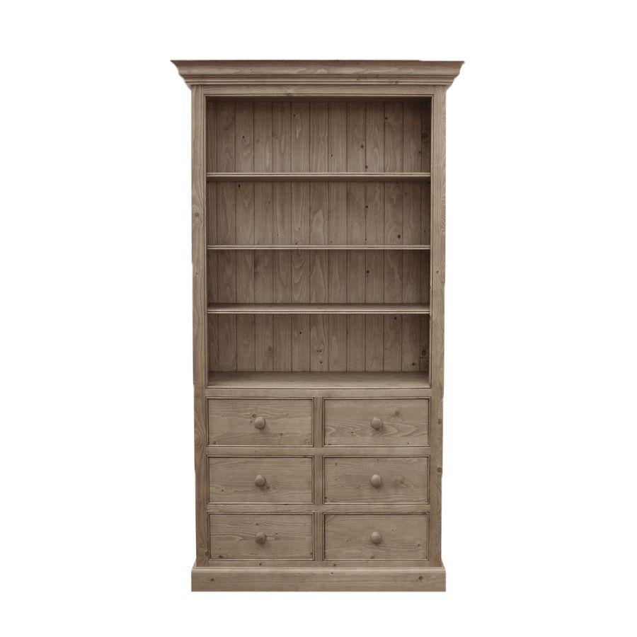 Bibliothèque ouverte 6 tiroirs en épicéa brun fumé grisé - Natural