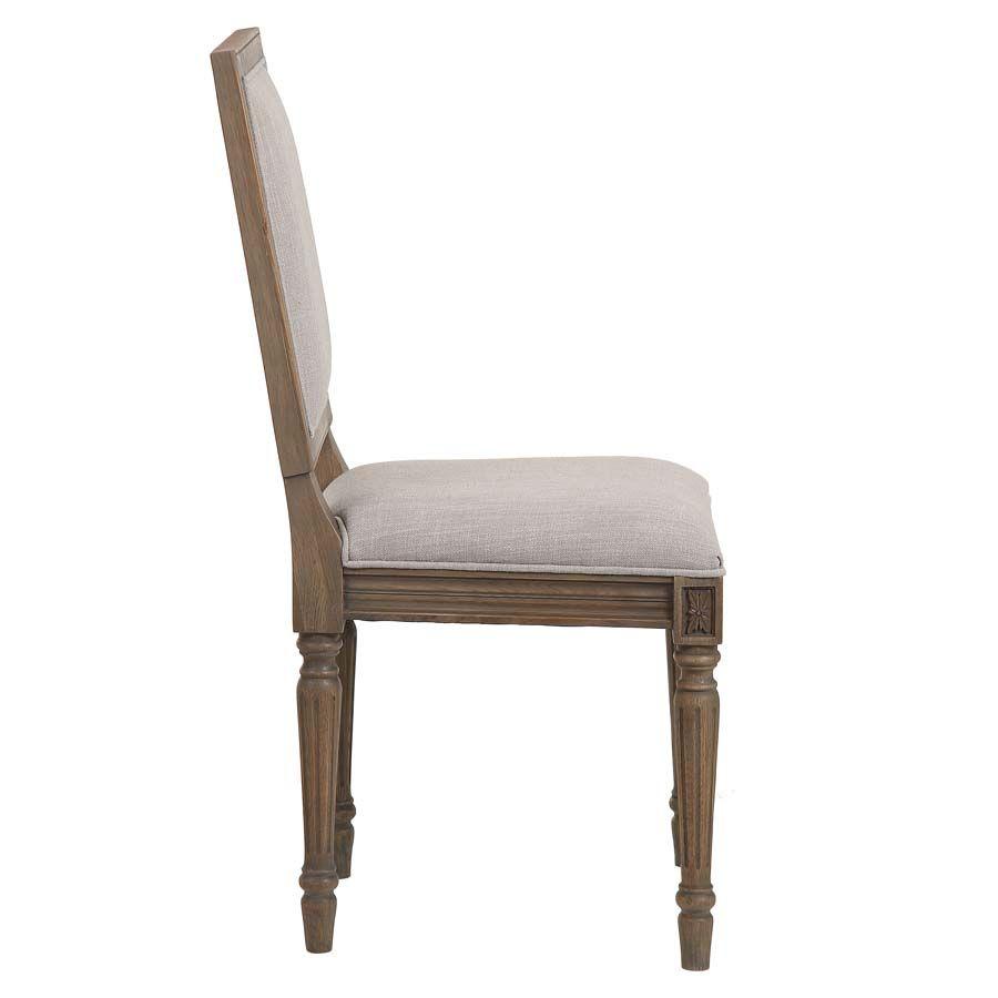 Chaise en chêne massif naturel fumé et tissu - Honorine