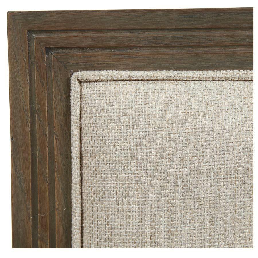 Tête de lit 160 en chêne naturel fumé et tissu Ficelle - Domaine