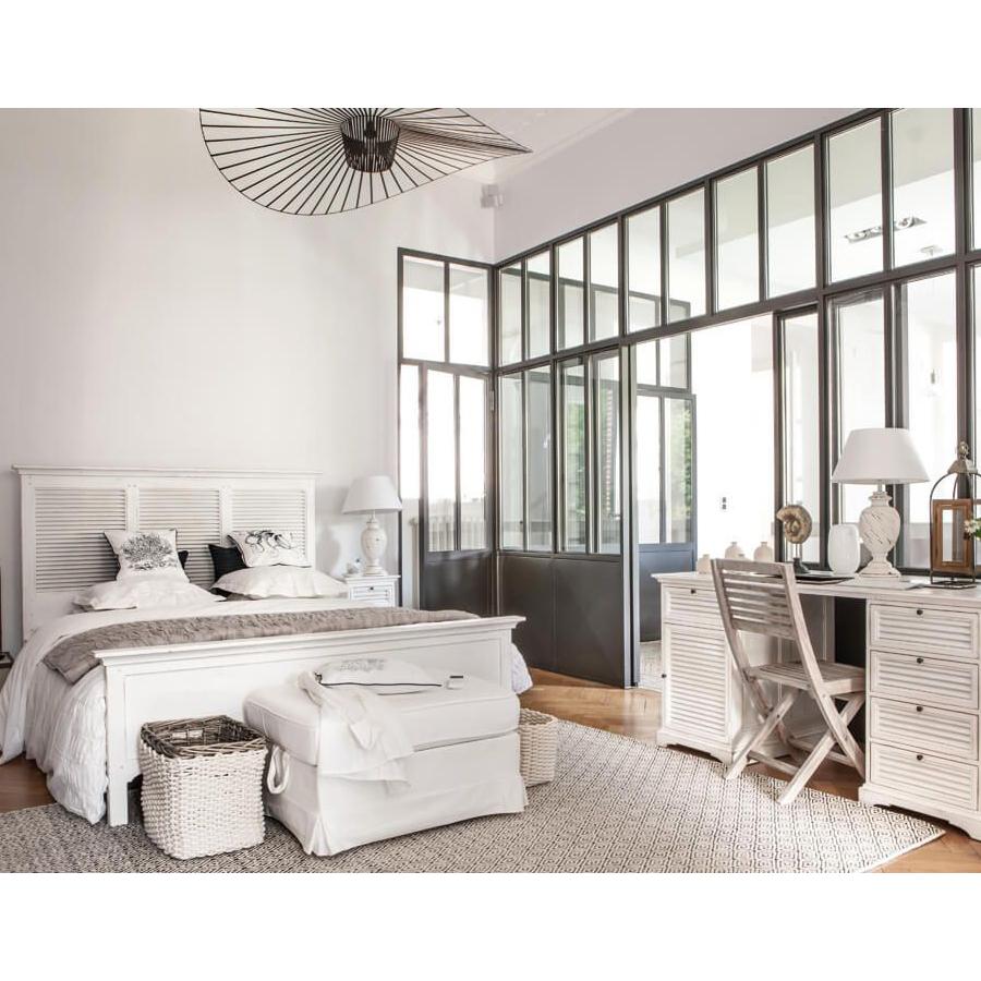 Tête de lit 160 blanche en épicéa massif - Vénitiennes